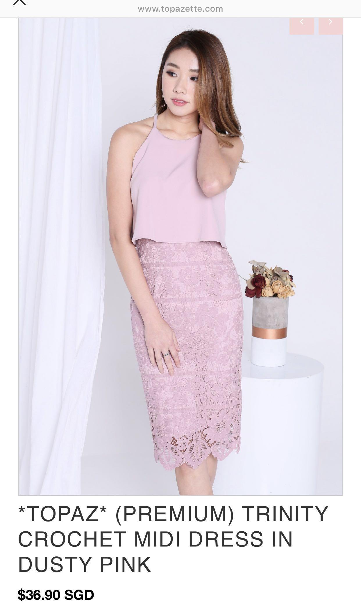 56a24aa6a41 Topazette crochet midi dress in dusty pink