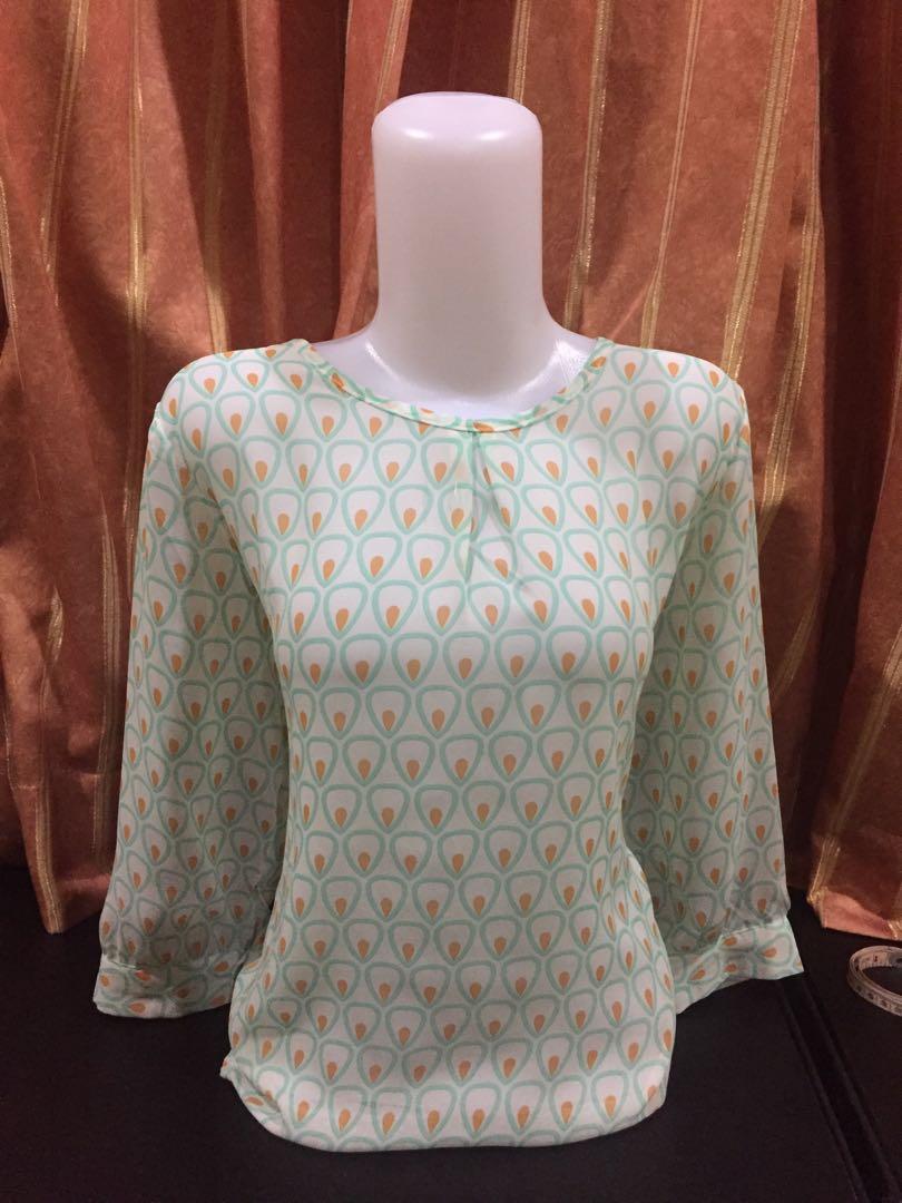 Tosca orange top pattern corak atasan polkadot polcadot