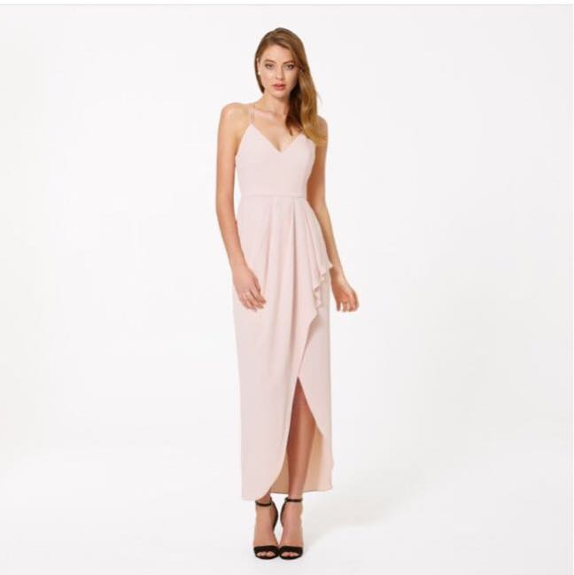 Treslovechic peach pink tulip wrap maxi dress