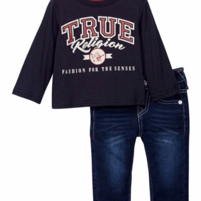 True Religion Branded Long Sleeves Tee & Jeans Set