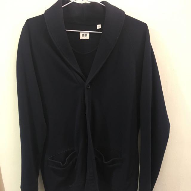 Uniqlo 深藍 開襟 外套 棉外套 復古 古著 排扣 Zara 可參考