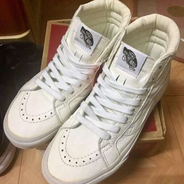 VANS sk8 Hi 全白 皮革 高筒 滑板鞋 22.5