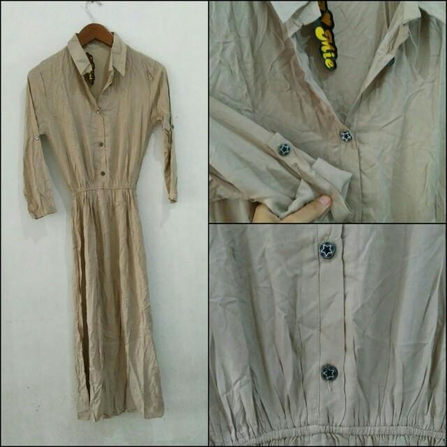 Waist Button-Up Maxi Dress