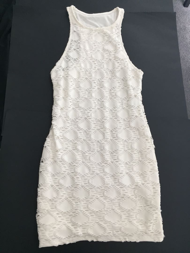 White Patterened Bodycon Dress