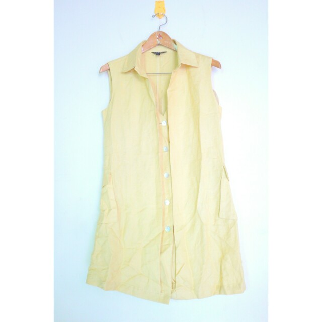 Yellow buttoned down dress/ vest