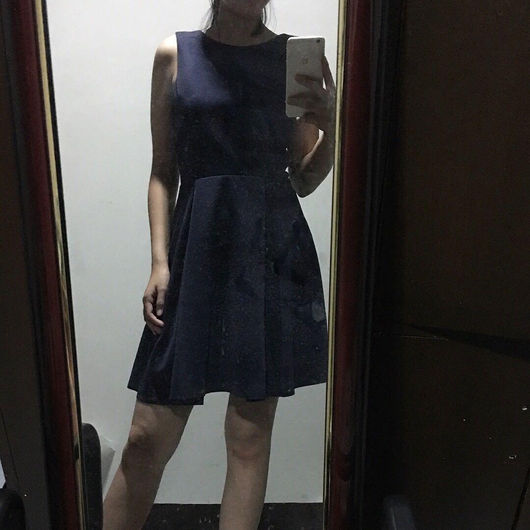 Zalora Navy Blue Deep-V Back Dress