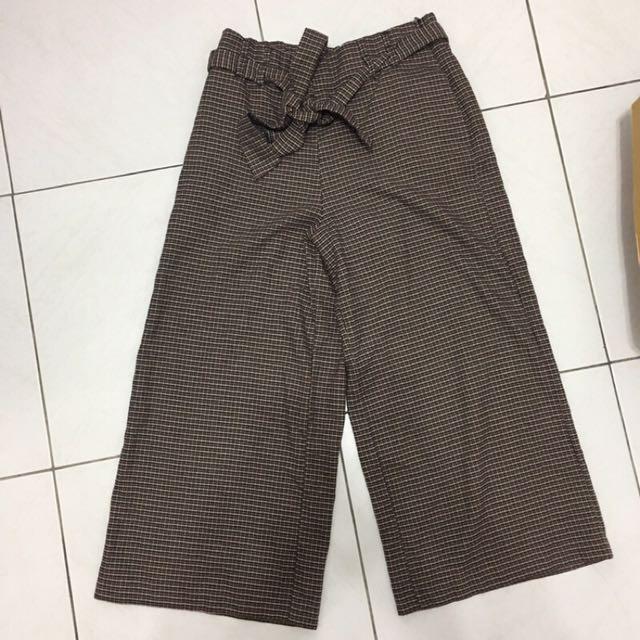 Zara千鳥格紋九分綁帶咖啡色棕色氣質寬褲