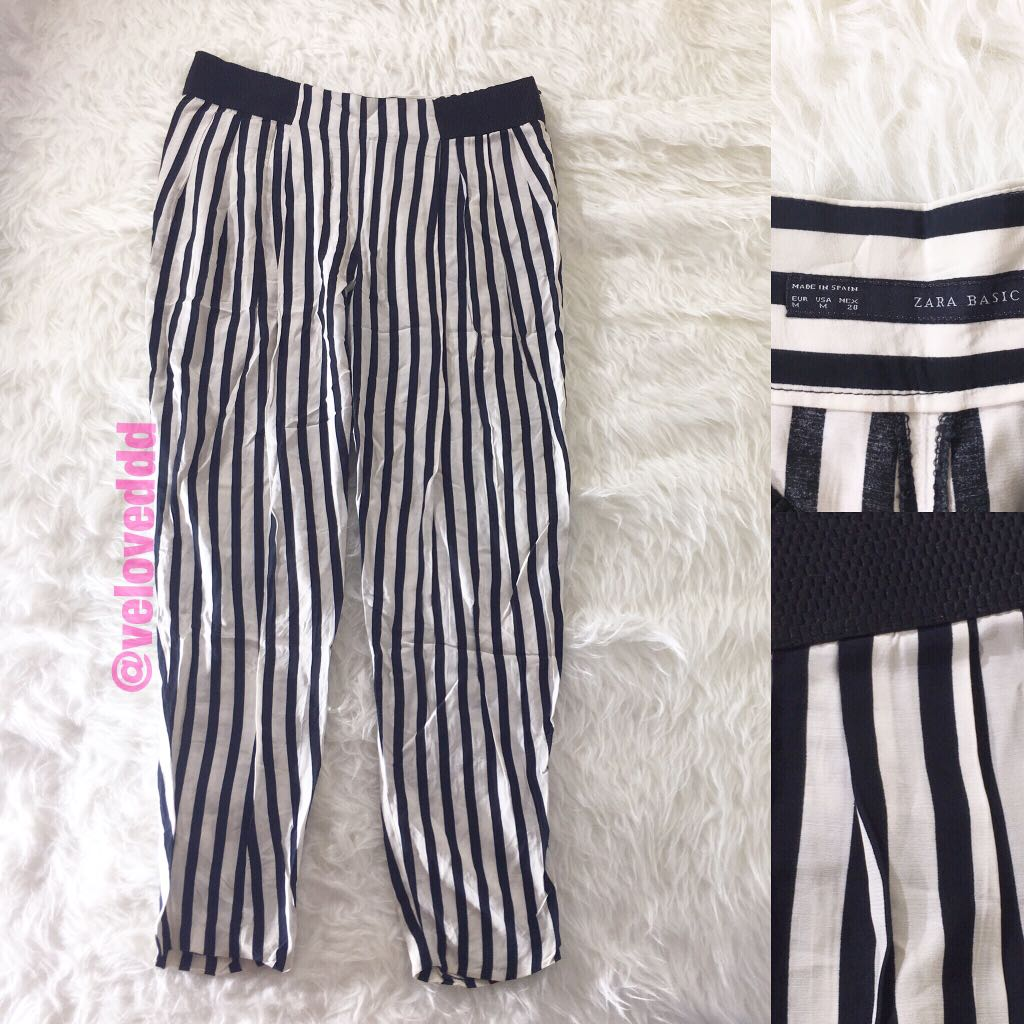 Zara basic bw stripes pants