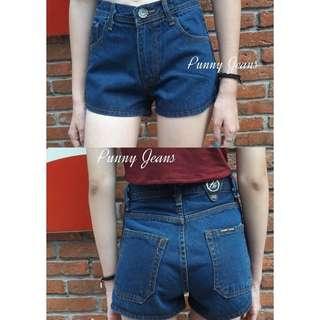 High Waisted denim shorts (dark blue)