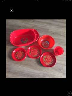 Cheap wedding dowry Red Set Wedding bowls and tray