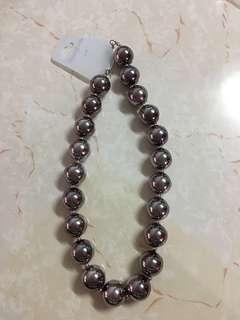 珠珠頸鏈 銀灰色