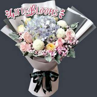 Fresh Flower Bouquet Anniversary Birthday Flower Gifts Graduation Roses Sunfowers Baby Breath -  47C90