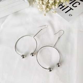 🎠銀色幾何大圈 圓珠耳環