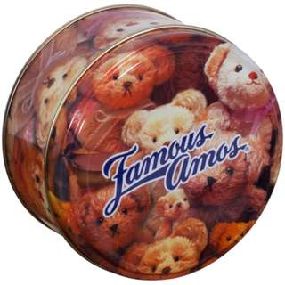 Metal Tin with Teddy Bear design from Famous Amos