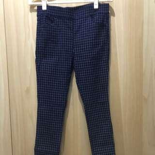 深藍色格紋彈性褲