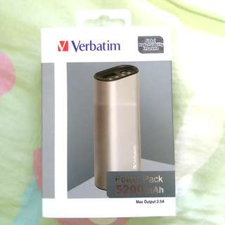 *全新* Verbatim 5200mAh 行動電源 流動充電器 Li-ion Metallic Power Pack