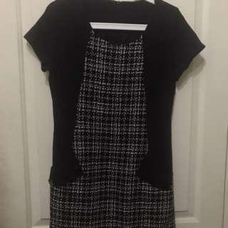黑色格子洋裝
