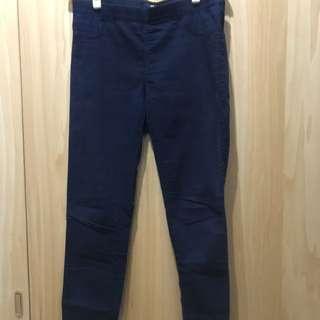 H&M深藍色彈性長褲