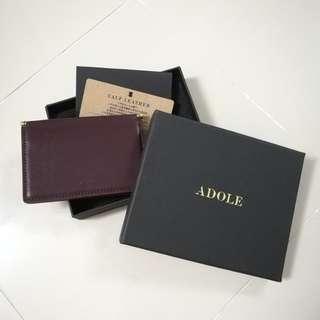 Genuine Leather Calf Skin Ultra Slim Card Holder Wine Red