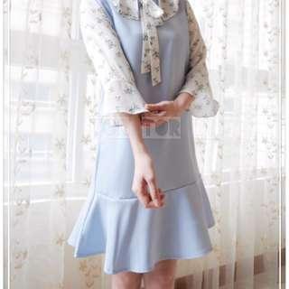 🇰🇷正韓  荷葉七分袖洋裝(淺藍)