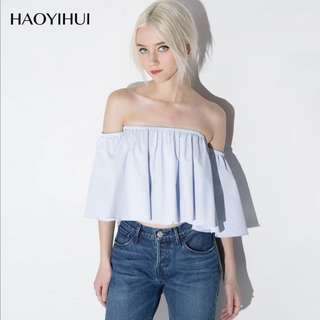Flutter sleeves blue off shoulder top