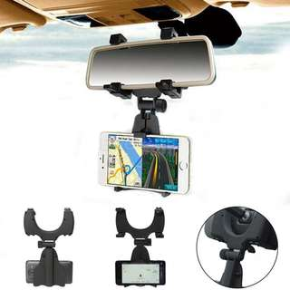 GPS Mount Rear view Mirror Stand / Car Phone Holder (WHITE) (READY STOCK)