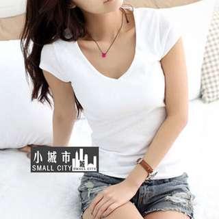 BN Basic BLACK Plain V neck Tshirt v-neck Tee slim fit t-shirt