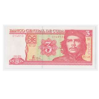 2006 Cuban Commemorative Che Guevara Three Peso Banknote