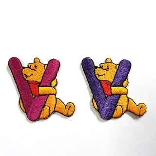 """Iron On Patch/ Applique ↪ Alphabet Pooh """"V"""" ↔️ 💱 $2.00 Each Alphabet"""
