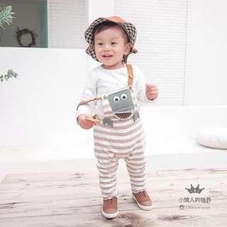 小朋友套裝(純色T恤+動物間條背帶褲)