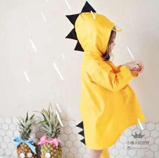 可愛黃色恐龍兒童雨衣