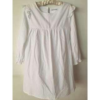 棉麻縮袖荷葉娃娃洋裝