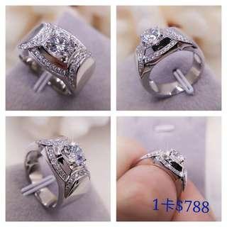 超閃一卡十心十箭高炭鑽925純銀6層包金戒指,鑲有碎石,可訂造任何圈碼