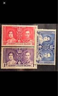 Koh George Coronation stamps Gilbert & Ellice 3v Mint (toned gum)