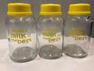 Botol kaca asi 250ml (3pcs)