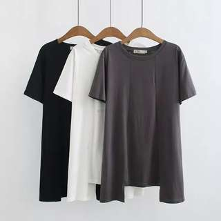 (XL~4XL) Summer solid color round neck short-sleeved T-shirt in the long paragraph bottoming shirt