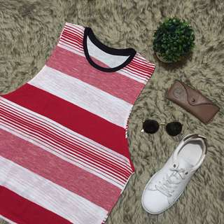 Red Stripes Patterned Muscle Tee