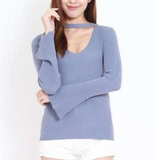 Knitted V Neck Bell Sleeve Top