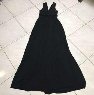 黑色棉質長洋裝