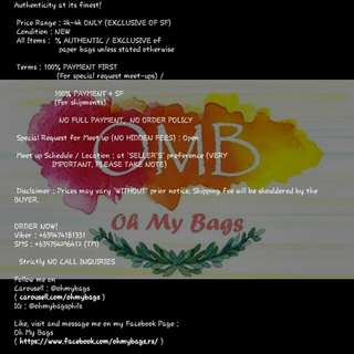 OH MY BAGS TERMS AND CONDITIONS (VERY IMPORTANT!)