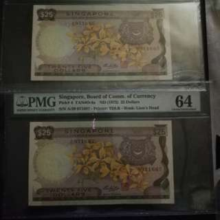 Singapore orchids $25 yellow paper variety PMG 64 choice UNC 2 pcs almost consecutive