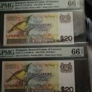 Singapore bird series $20 A/1 prefix 2 consecutive runs and Both GRADED PMG 66EPQ scarce
