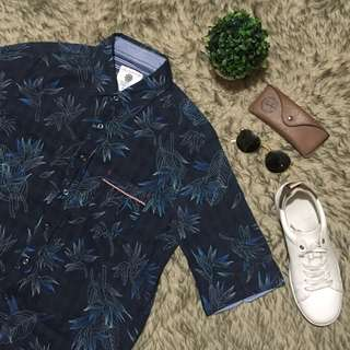 Palm Patterned Short Sleeves Button Down Polo