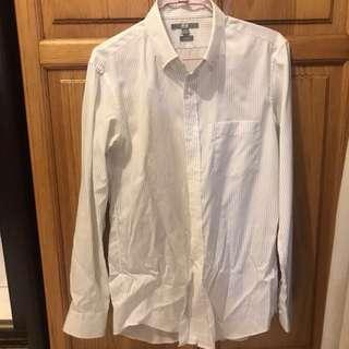 《二手》Uniqlo白底條紋長袖襯衫