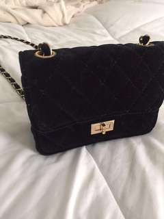 Fashion Nova black velvet bag