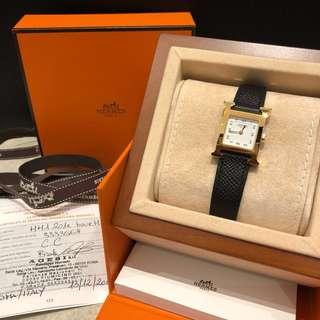 Hermes pm size 21mm黑色Epsom 皮金框 女裝錶