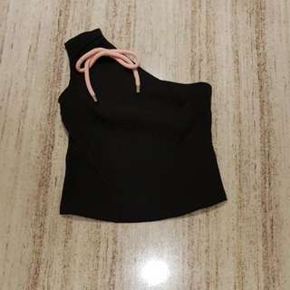 One shoulder ribbon top