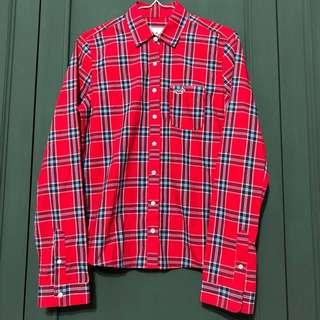 Hollister紅藍格子長袖襯衫