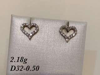 心型鑽石耳環