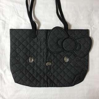hello kitty 黑色格紋手提包